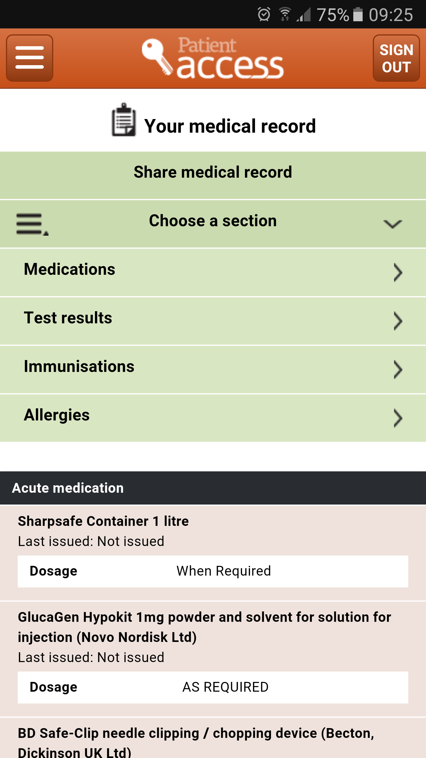 Medical record menu
